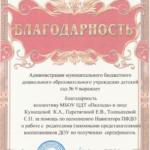 Благодарность МБДОУ Детский сад № 9
